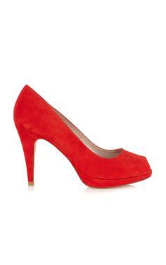 Nueva Colección | Rojo Zapatos peep toe ante | Karen Millen