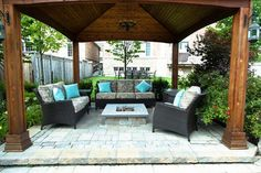 Fire Pit Gazebo with Soft Couches