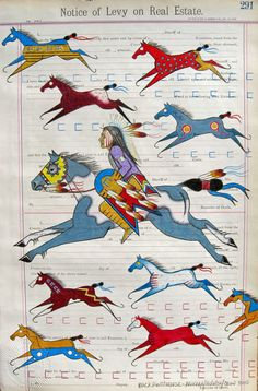 My Collection of Painted Ponies. colored pencil on Levy of Real Estate,  St. Louis MO cir.1880's Monte Yellow Bird Arikara and Hidatsa Tribe of North Dakota