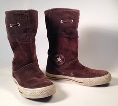 Brown Suede Leather Converse All Stars boots! Featuring:  Warm and Thick Brown Suede Leather Brown Fleece cuffs that can be rolled or worn