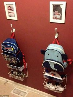 Back to school: One mum shared a picture of her children's school stations, where she stores their backpacks, beanies and shoes for the school day so they're never lost                                                                                                                                                                                 More