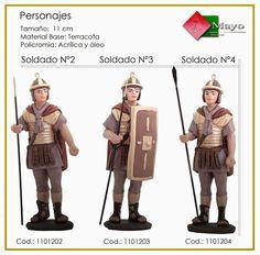 SOLDADOS ROMANOS Nº2, Nº3 y Nº4. Figuras de belén/pesebre, de terracota policromada, de 11 cm. Autor José Luis Mayo Lebrija. Novedad 2014.