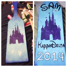 The paddle I made for one of my sisters! Kappa delta sorority. And it's Disney! #kappadelta #paddle #ΚΔ #kd19. Disney Sorority, Kappa Delta Sorority, Delta Phi Epsilon, Phi Sigma Sigma, Sorority Canvas, Sorority Paddles, Sorority Crafts, Sorority Life, Sorority Recruitment