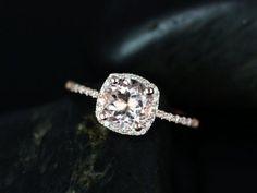 14kt Rose Gold Thin Morganite Cushion Halo Ring