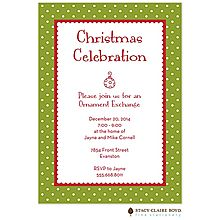 merry dots Ornament Exchange Christmas Party Invitations green with red wording. cute little ornament