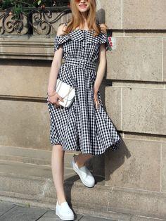 Black Checkerboard Fold Over Cold Shoulder Dress -SheIn(Sheinside)