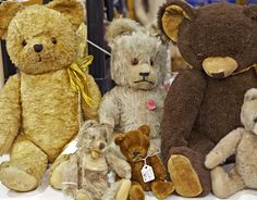 Antique teddy bears.