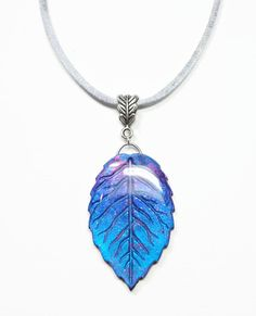 Amethyst Leaf Pendant Necklace polymer jewelry by BeadazzleMe, $18.00