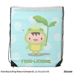 Cute Boy in Frog Prince Costume Drawstring Bag