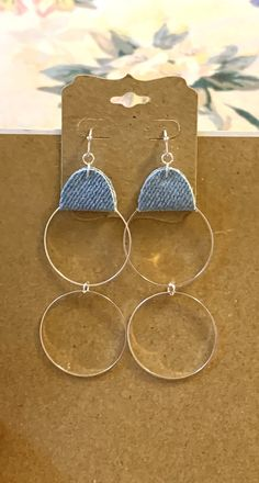 Excited to share this item from my #etsy shop: Blue jean denim fabric round hoop earrings silver circle charms long boho hippie unique denim jewelry geometric statement handmade gift#blue#jean#denim#fabric#round#hoop#earrings#circle#charms#geometric#long#boho#hippie#handmade#homemade #unique#statement Diy Denim Earrings, Fabric Earrings, Fabric Jewelry, Hair Jewelry, Beaded Jewelry, Hoop Earrings, Handmade Jewellery, Earrings Handmade, Handmade Gifts
