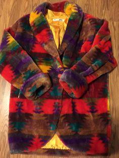 Vtg 1980s Aztec Donnybrook Colorblock Slouchy Plush Fleece Faux Fur Coat S  | eBay
