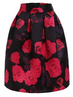 15$  Buy now - http://dih8g.justgood.pw/go.php?t=2227 - Rose Print Box Pleated Midi Skirt - Black