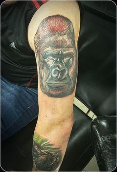 Gorilla tattoo by Thrax. #devilsown #devilsowntattoos #tattoo #leicestertattoo #gorilla #jungle #animal #animaltattoo #gorillatattoo #colour #realism #portrait