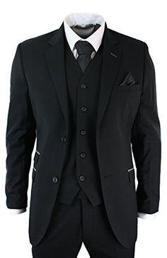 Mens 3 Piece Black Tailored Fit Suit Grey Trim Smart Formal Occasional - Royal Hub