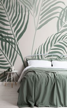 Transform your space into a leafy green paradise with Palmetto. This tropical wallpaper mural is filled with large-scale Areca palm leaves, all hand-painted in inky green and light cream tones that'll give your room a more soothing mood. The background of this mural has a soft paper effect that gives the design more texture, and also features subtle abstract shapes that add to the on-trend style of the mural. Paradise Wallpaper, Palm Wallpaper, Tropical Wallpaper, Peaceful Bedroom, Cosy Bedroom, Dream Bedroom, Art Deco Bedroom, Bedroom Wall, Wallpaper Design For Bedroom