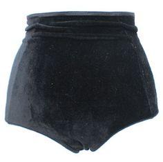 Black Velvet High Waisted Panties