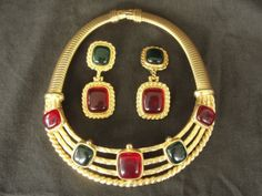 Alexis-Kirk-Designer-Cabochon-Jewel-Runway-Collar-Torc-Necklace-Ear-Rings