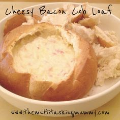 The Multitasking Mummy: Mummy Mondays - Cheesy Bacon Cob Loaf Loaf Recipes, Cooking Recipes, Healthy Recipes, What's Cooking, Yummy Recipes, Jam Drop Biscuits, Spinach Cob Loaf, Cob Loaf Dip, Cob Dip