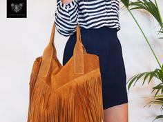 Suède cognac fringe bag, marine striped blouse and navy blue skirt @ Lushified.com ✖This pin inspires Lushified.com