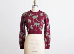 Vintage 70s Betsey Johnson Alley Cat Animal Cropped Sweater