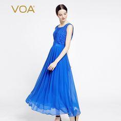 Encontrar Más Vestidos Información acerca de VOA azul vestido de seda sin mangas de la cintura plisada vestidos largos tira ancha A6963, alta calidad vestido largo, China vestido de seda Proveedores, barato vestido plisado de VOA Flagship Shop en Aliexpress.com