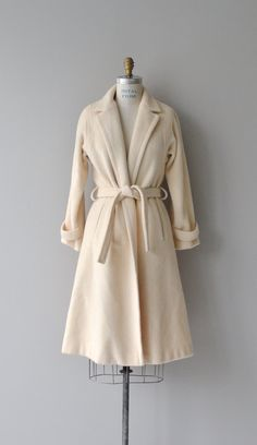 Marshmallow wrap coat cream wool wrap coat vintage by DearGolden