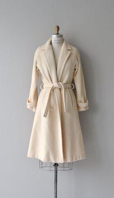 Marshmallow wrap coat cream wool wrap coat vintage by DearGolden