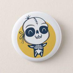 Button for Halloween with skeleton - Halloween happyhalloween festival party holiday
