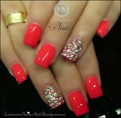 Coral Pink Nails with Bling!...