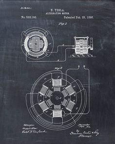 Patent Print Tesla AC Motor Tesla Wall Art by VisualDesign, $6.95