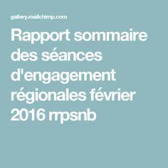 Rapport sommaire des séances d'engagement régionales février 2016 rrpsnb