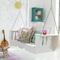 Build an indoor swing. | 21 DIY Ways To Make Your Child's Bedroom Magical