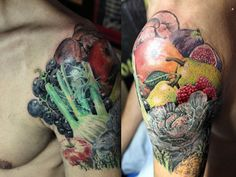 fruits and veg tattoo by Mirek vel Stotker by stotker, via Flickr