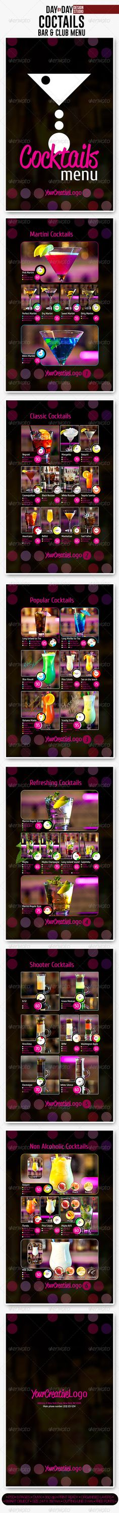 Cocktail Drinks Menu Drink menu, Menu and Food menu - bar menu template