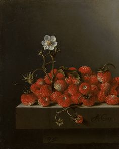 Still Life with Wild Strawberries by Adriaen Coorte via DailyArt mobile app