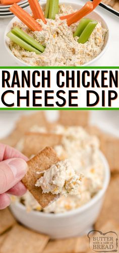 Ranch Chicken Cheese Dip is the perfect appetizer for parties! This cream cheese dip recipe is made with chicken, cream cheese, cheddar cheese and ranch dressing - that's it! Cheese Dip Recipes, Easy Appetizer Recipes, Appetizers For Party, Easy Dinner Recipes, Snack Recipes, Cooking Recipes, Vegan Recipes, Ranch Chicken, Appetisers