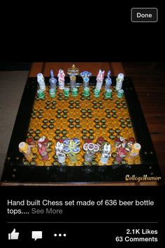 Chess board made from bottle caps.