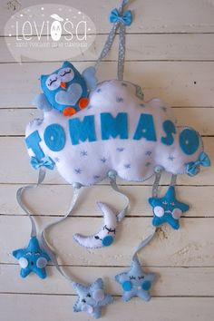 **Leviòsa** Newborn baby nursery decoration/ felt cloud with owl and baby name - Fiocco nascita/decorazione cameretta nuvola con gufo https://www.facebook.com/Leviosa.blog