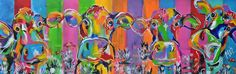 #Kleurrijke #dierenschilderijen van #kunstenares # Mir. Vreemde #snoeshanen, #kamelen en sfeervolle #koeien. Te koop op #KUNSTmarktplaats.nl