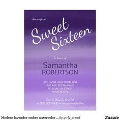 Modern lavender ombre watercolor Sweet 16 Card
