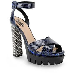 Karl Lagerfeld K/Reptile Platform Sandal (€370) ❤ liked on Polyvore featuring shoes, sandals, black, leather shoes, ankle strap platform sandals, black ankle strap sandals, platform shoes and platform sandals