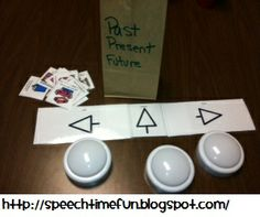 Using tap lights to identify past, present, or future verb tenses - free download available at Speech Time Fun!