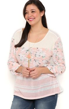 Deb Shops Plus Size Stripe Knit High Low Top with Floral Print Roll Tab Sleeves $12.00