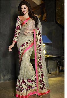 #Cream #Velvet #Brasso And #Art# Silk #Saree With #Blouse  #Cream #Velvet #Brasso And Art #Silk #Saree designed with Heavy Zari,Resham Embroidery With Stone Work And Lace Border  INR: 7,868.00  With Exclusive Discounts   Grab: http://tinyurl.com/zkttjfj