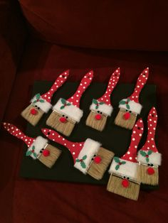 So fun and easy to make! Christmas paintbrush Santa ornaments!! All you need is  Paint brushes, red acrylic paint , white acrylic paint, fabric of your choosing . holly and leave stickers, black Pom poms for the eyes, red pom Pom for the nose and fabric glue! Everything is at Michaels except for the fabric I used, found the fabric I used at Joanne's.  happy crafting!