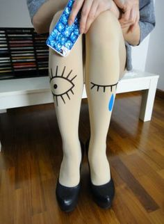 Off-white Leggings/Tights - Kawaii winky eye tattoo tights