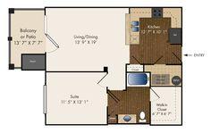 One Bedroom  803 sq. ft.