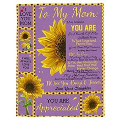 To My Mom Sunflower BlanketMothers day Gifts from | Etsy Valentine Gifts For Husband, Mothers Day Gifts From Daughter, Wolf Boy Anime, Doormat Quotes, Letter To My Mom, Wolf Background, Cute Wolf Drawings, Funny Wolf, Niece Gifts