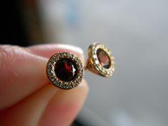 Garnet halo earrings!