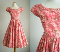 Vintage 1950s Jerry Gilden Spectator dress in soft, heavy cotton. Features a pixelated print with pink roses, a soft scoop neck, pretty Vintage Outfits, Vintage 1950s Dresses, Retro Outfits, Simple Outfits, 1950s Style, 1950s Fashion, Vintage Fashion, Dress Form Mannequin, Vintage Mode